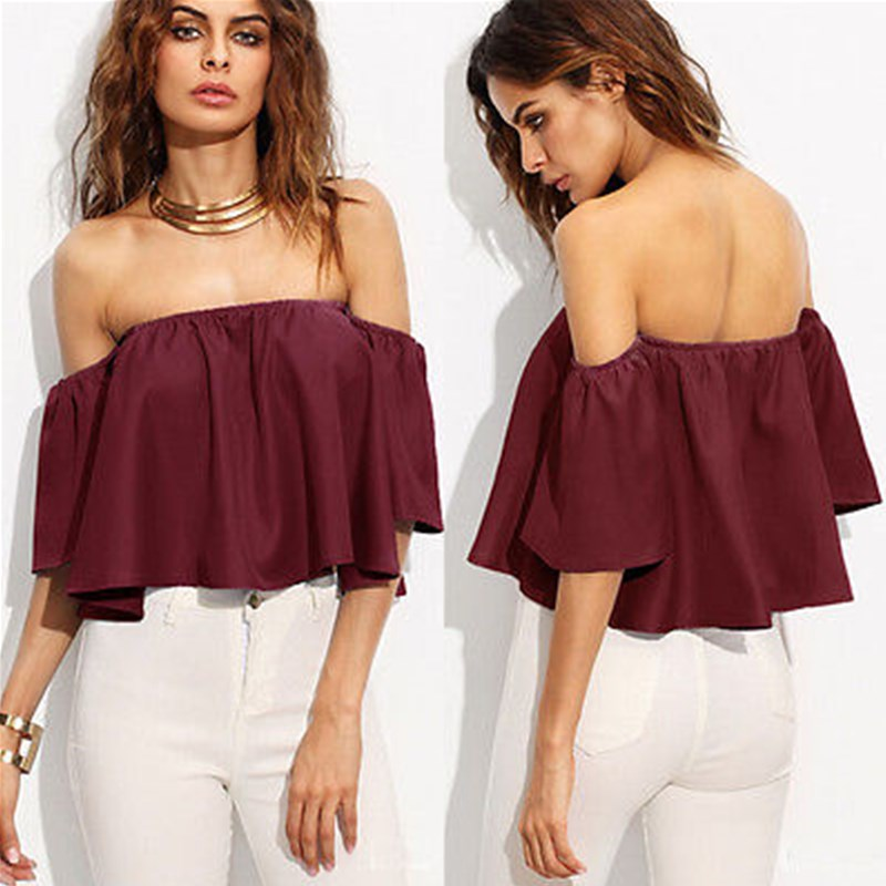 c72e2f6984 Summer Women Ladies Flare Short Sleeve Tank Tops Off Shoulder Blouse Shirts  Ruffles Crop Top Cropped Tops Shirt Outfit Sunsuit