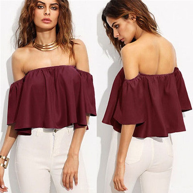 d13927e6965 Summer Women Ladies Flare Short Sleeve Tank Tops Off Shoulder Blouse Shirts  Ruffles Crop Top Cropped Tops Shirt Outfit Sunsuit