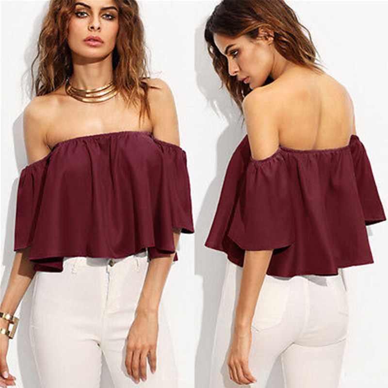 58f3f34389b Summer Women Ladies Flare Short Sleeve Tank Tops Off Shoulder Blouse Shirts  Ruffles Crop Top Cropped