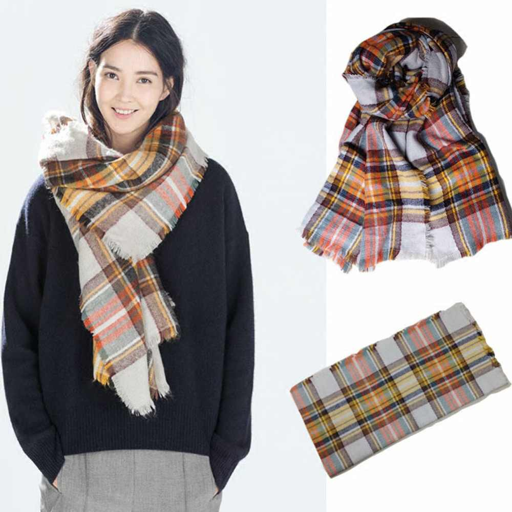 Za Winter Brand Cashmere Scarf Women Blanket Scarf Plaid Wraps long Scarf Women 2016 Pashmina Cashmere Shawls and Scarves tassel