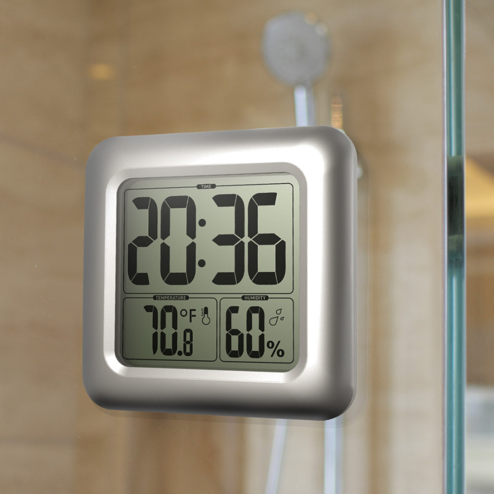 Bathroom Mirror Clock Digital Large Lcd Display Watch With Humidy Thermometer Splash Proof With