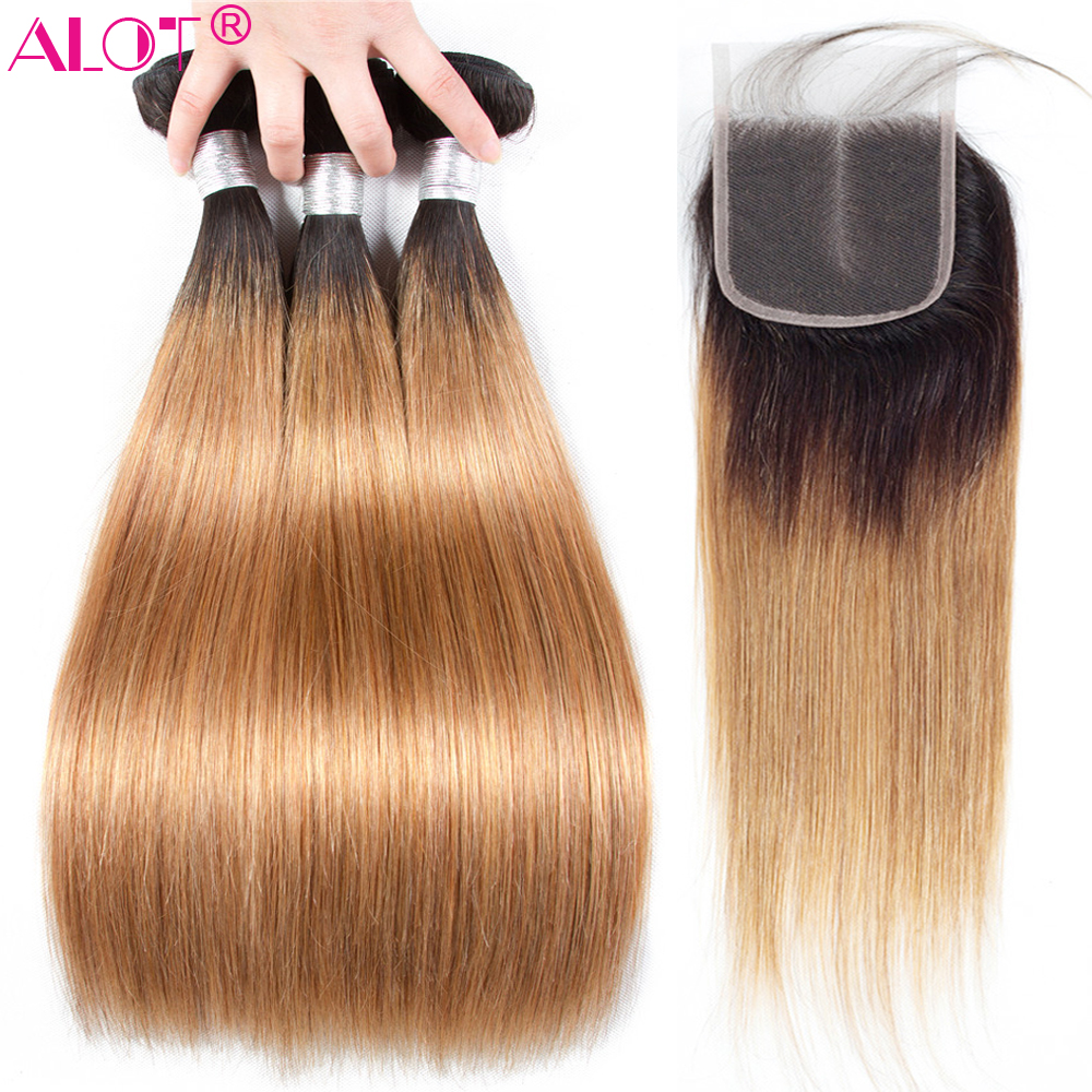 Alot Ombre Bundles With Closure 1B 27 Honey Blonde Ombre Malaysian Straight Human Hair Bundles With