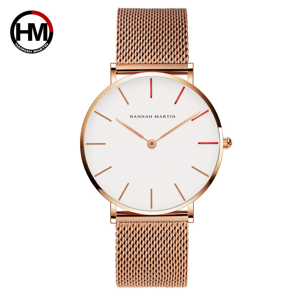 Women Watch HM Brand Quartz Watch For Lovers Casual Waterproof Simple Watches Fashion Hit Color Canvas Leather Strap 1230-HR40
