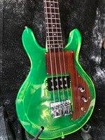 Good Quality Acrylic Electric Guitar Green Color Dan Style Rosewood Pickguard Fix Bridge Crystal Electric Bass