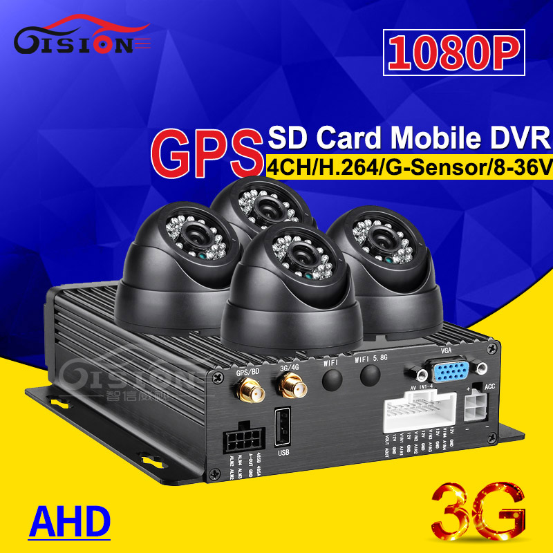 High Definition 3G GPS 4CH SD Mobile Dvr Kits+4PCS Indoor Plastic Dom Night Vision IR Dvr Camera Free Shipping Software Free