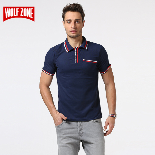 c73194c4aa WOLF ZONE Brand Fashion POLO Shirt Men Cotton Skull Dots Print Camisa  Summer Breathable Business Casual