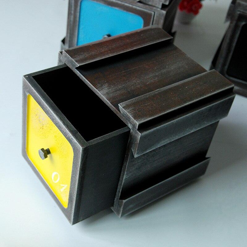 Vintage boîte en bois bijoux stockage coffre au trésor boîte à tiroir organisateur manuel boîte en bois bureau articles divers boîte de rangement tiroir - 2