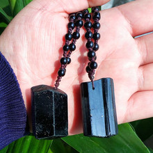 Black Tourmaline Stone Pendant Necklace