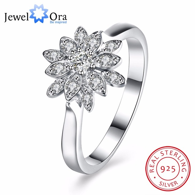 b9c9784ff Solid 925 Sterling Silver Ring Flowers Design CZ Romantic Fashion Jewelry  Rings For Women Best Gift for Girls(JewelOra RI102647)