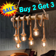 Vintage Hemp Rope Pendant Light AC90-260V E27 Loft Creative Personality Industrial Pendant Lamp for Restaurant Coffee стоимость