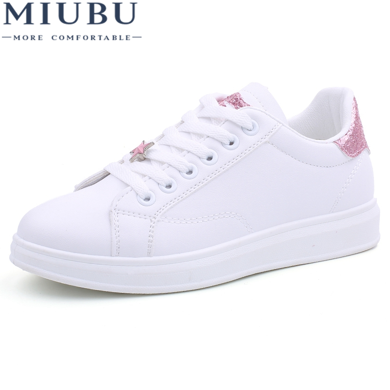 MIUBU Female Shoes Sneakers Women Casual Shoes Cheap PU Leather Sewing Fashion Lips Lace up Ladies White Shoes Woman Sneaker glowing sneakers usb charging shoes lights up colorful led kids luminous sneakers glowing sneakers black led shoes for boys