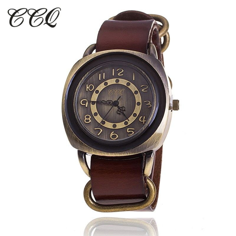 Ccq brand retro vintage cow leather bracelet watch women casual quartz watch ladies girls for Watches brands for girl