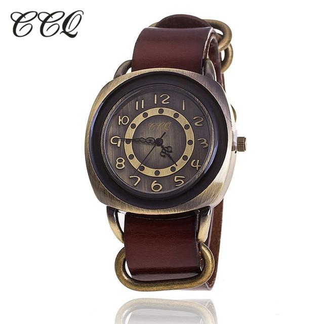Ccq бренд ретро Винтаж корова кожаный браслет смотреть Для женщин Повседневное кварцевые часы дамы Обувь для девочек Наручные Relogio feminino 1311