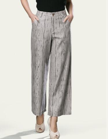 bf5b524c9533 Cotton linen blend wide leg pants for women plus size high waist capris  ankle length new fashion loose casual trousers seb0703-in Pants   Capris  from ...
