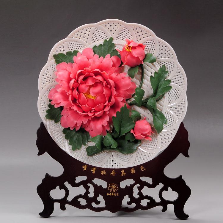 Розовые пионы керамические украшения ремесла домашняя декоративная тарелка подарки новоселье украшения Висячие ГЛУБОКАЯ ТАРЕЛКА