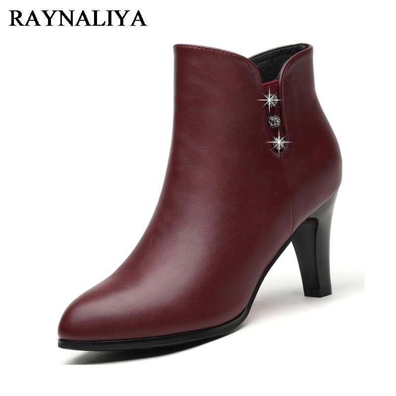 Winter Women Spike Heel Pointed Toe Genuine Leather Crystal Ankle Boots Black Wine Red Fashion High Heels Boot Shoes YG-B0000 women boots plus size 35 43 genuine leather autumn winter ankle boots black wine red shoes woman brand fashion motorcycle boot