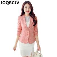 2019 Women's Autumn Blazer Pink Long Sleeve Blazers Jacquard Coat Slim Office Lady Jacket Female Suit Blazer Femme Jackets R531