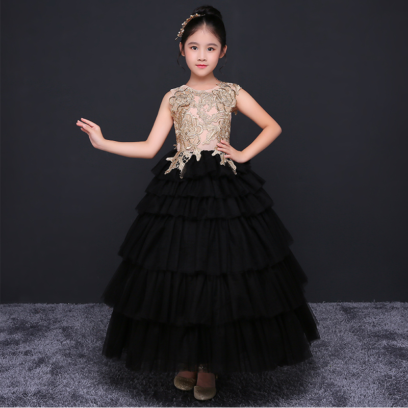 Royal Black Ball Gown Princess Dress Summer 2018 Girls Wedding Dresses Flower Girl Dress Lace Evening Party Costumes D209 2018 new summer girl children s ball gown princess dress costumes feathers wedding dresses girls kids lace tutu dresses d048