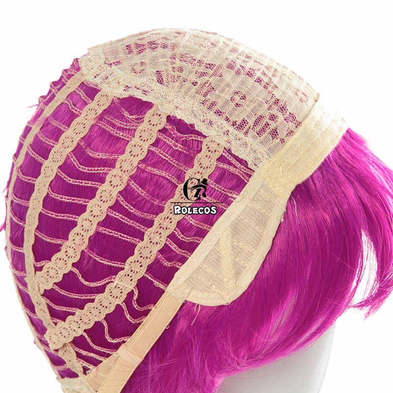 ROLECOS เกม LOL KDA Evelynn คอสเพลย์ LOL K/DA Evelynn สังเคราะห์ผมใหม่คอสเพลย์ Headwear สีม่วงยาวผมผู้หญิง