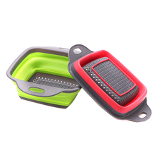 Полезная Складная корзина для мытья фруктов и овощей, сетчатый фильтр, портативный пластиковый резиновый дуршлаг, складной Слив, домашние кухонные инструменты