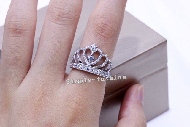 Handmade 1.5CT Simulated Diamond 925 Sterling Silver Crown Engagement Wedding Ring