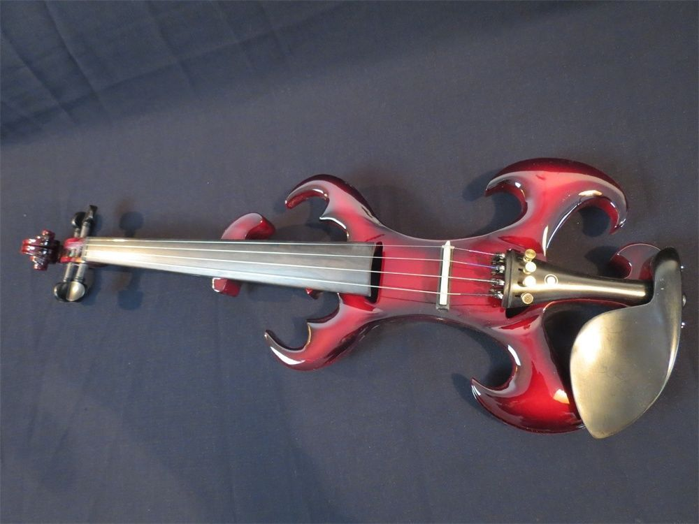 Handmade Great Design Red Color Streamline Model Top Art 4/4 Electric Violin Case Bow Rosin Included handmade new solid maple wood brown acoustic violin violino 4 4 electric violin case bow included
