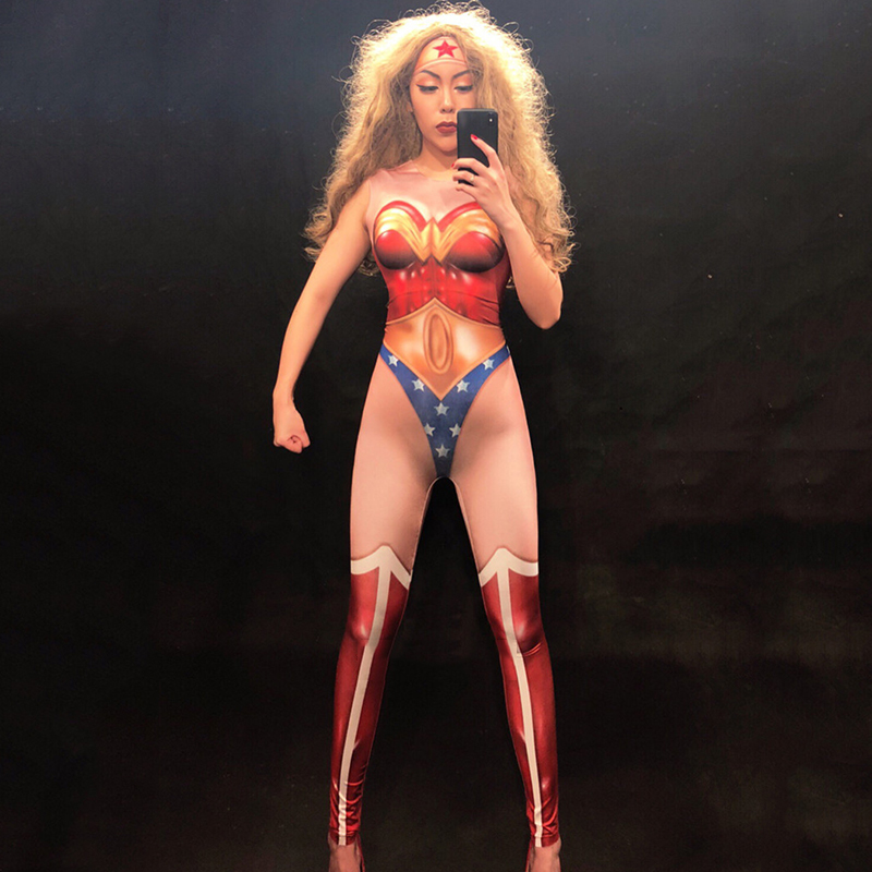Bodysuit Female Singer DjDs Guest Gogo Stage Jumpsuit Sexy Superwoman Print Piece Trousers Stage Costume Festival Outfit DN2231