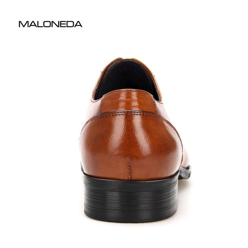 A Calzado Fiesta Cuero Zapatos Hecho De Negro Los Formal Moda Vestido Nueva Boda Maloneda Hombres marrón Marca Genuino Mano Para wqRfzXTn