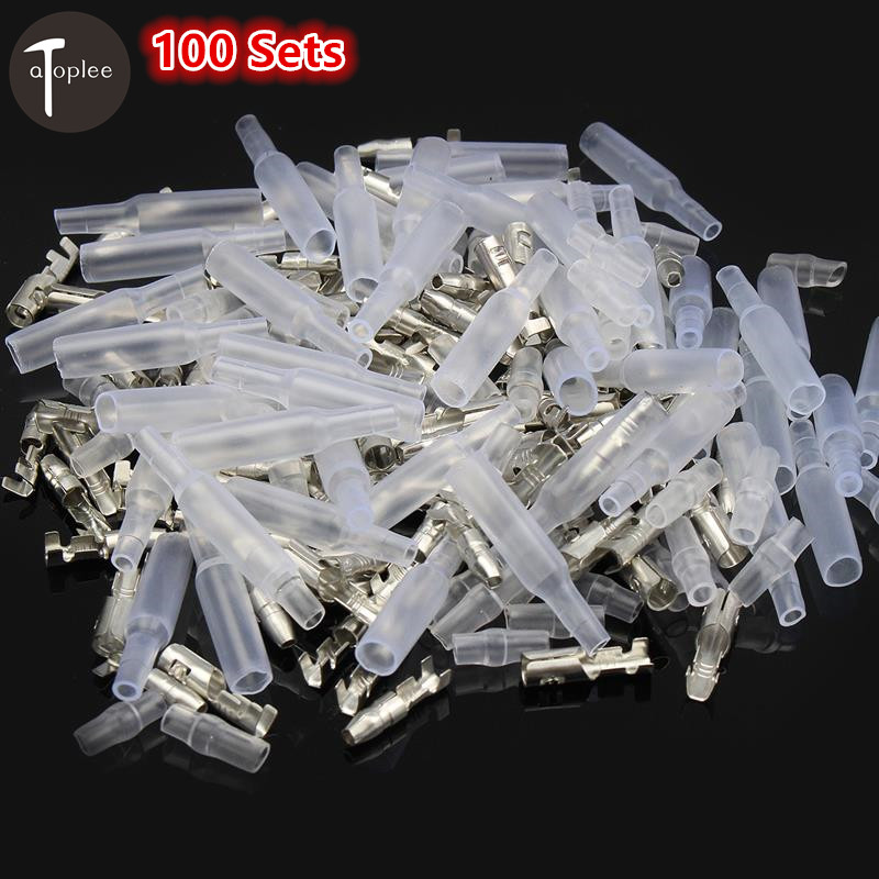 Wholsale 100Sets 4mm Car Motorcycle Electrical Connector Wire Male Female Socket Classic Terminal With Insulation Cover 100pcs lot 4 8 male and female insulated terminal insert the plug sheathed wire terminal connector 0 2 1mm2