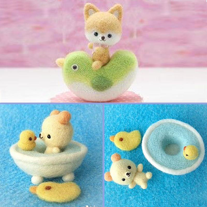 2019 Easy DIY Cute Animal Dog Duck Chick Toy Doll Wool Felt Poked Kitting Non-Finished Handcarft Wool Felting Material