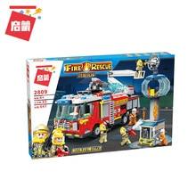 Enlighten 2809 647pcs Airport Rescue Operation Spray Water Truck Firemen Car Building Block Kids Toys Compatible Legoings City