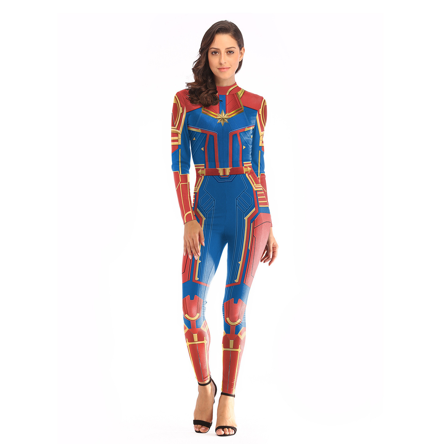 Adult Captain Marvel Cosplay Costume Women Superhero Marvel Women Cosplay Halloween Ms Marvel Carol Danvers Jumpsuit Bodysuit Buy At The Price Of 16 37 In Aliexpress Com Imall Com Long sleeve printed red, gold and blue stretch jumpsuit; imall