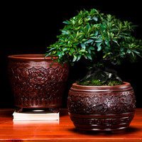 Purple Sand Pot Embossed Large Antique Bonsai Pots Clivia flower pots Extra Large Chinese Style indoor orchid flower pot