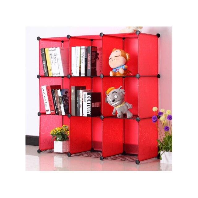 LF Sxsounai 9 grids Cute toy bookshelf wardrobe plastic Resin magic DIY environmental storage box toy rack simple Bedroom 2018 2