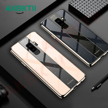 AKBKTII For Samsung Galaxy S9 Plus Case Luxury TPU edge+Hard PC Plexiglass Protective Back Cover Case for samsung note 9 case x pattern protective tpu back case for samsung galaxy note ii n7100 white