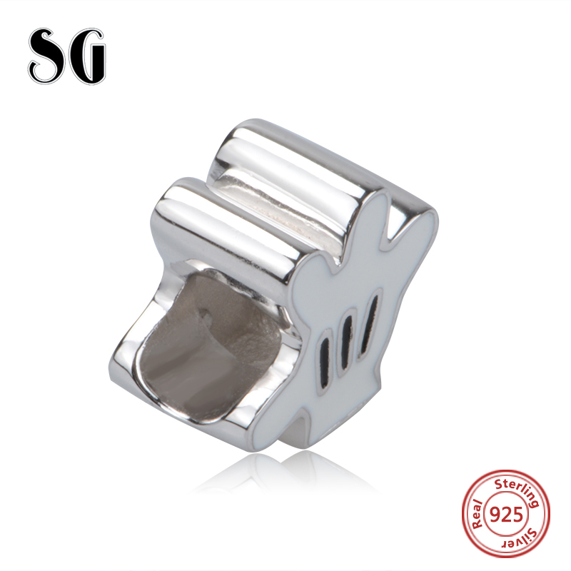 Hot Sale sterling Silver 925 White Palm Charm Beads Fit pandora Bracelets for jewelry making Kids Gifts free shipping supply