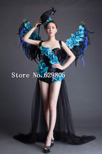 Blue Wing Rose Flower Bodysuit Dresses Girl Party Dress Female Singer Stage Show Lady Prom Outfit Costume Nightclub Clothing Set