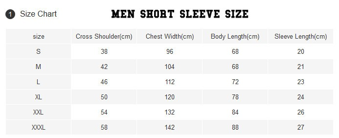 Men t shirt sizing