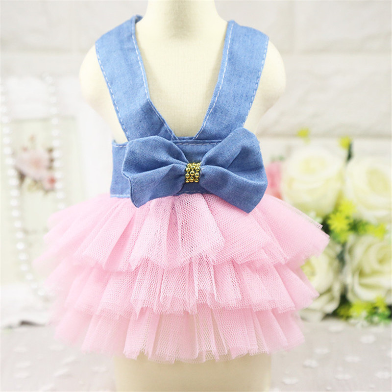 2019 Pet Clothes Sweet Bowknot Small Dog Skirt Girl Tutu Clothing Puppy Cat Sleeveless Apparel Teddy Clothes Harness AprT3 (3)