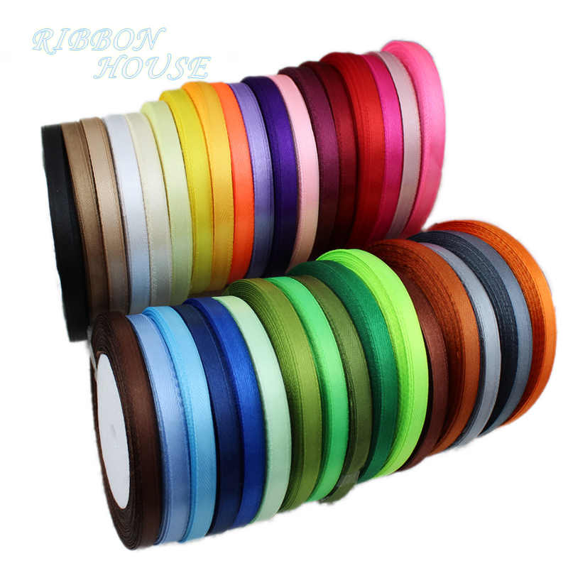 (25 Yards/Roll) pita Satin Grosir Hadiah Natal Dekorasi DIY Pita Roll Kain (6/10/12/15/ 20/25/40 Mm)