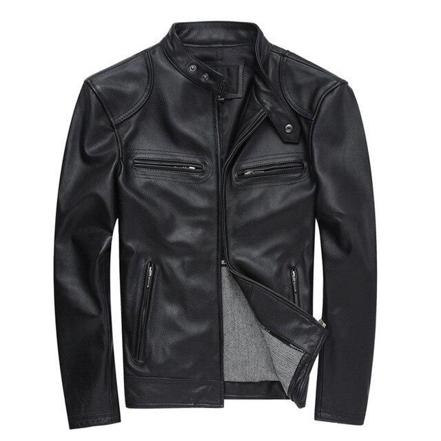 c7b7bcc11 HARLEY DAMSON Black Men Slim Fit Biker's Leather Jacket Plus Size XXXXL  Genuine Thick Cowhide Short Motorcycle Leather Coat -in Genuine Leather  Coats ...