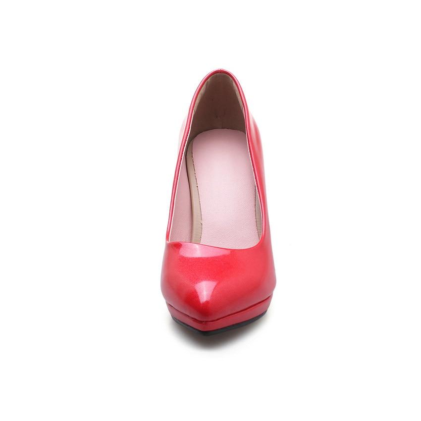 43 Deslizamiento Pu Tamaño Tacón Mujeres 34 La De plata Cuero Señaló Bombas rosado Zapatos Alto Toethin Boda Moda Plataforma Damas En 2019 Oro Qutaa rojo RwxqOvpw