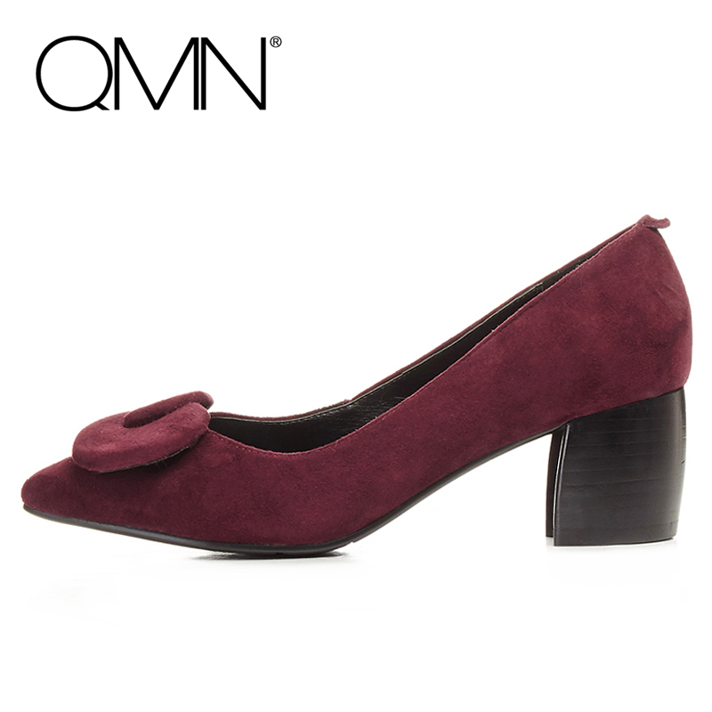 QMN bow-embellished Natural suede pumps Women Fashion Block Heels Pointed Toe Court Shoes Woman Genuine Leather Pumps qmn women crystal embellished natural suede brogue shoes women square toe platform oxfords shoes woman genuine leather flats