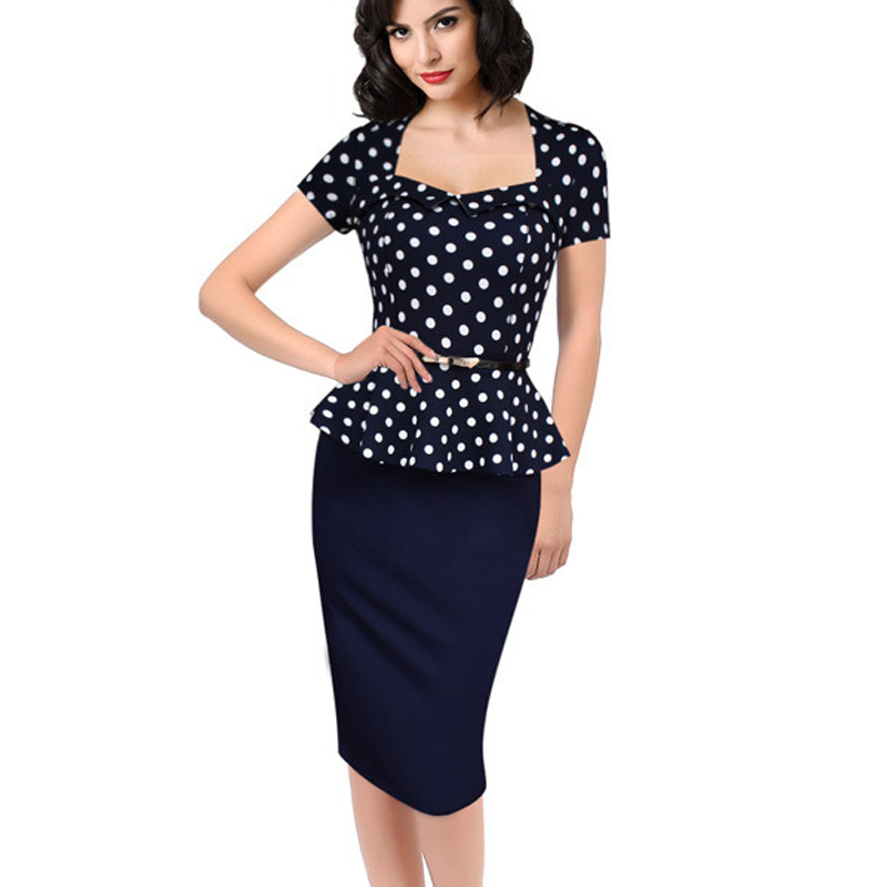 e9a6efd822422 Womens Elegant Vintage Empire Formal Office Dress Polka Dots Patchwork Knee  Length Pencil Bodycon Party Dresses Plus Size-in Dresses from Women's ...