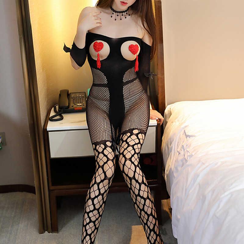 ผู้หญิงใหม่เปิด Crotch เซ็กซี่ Fishnet ชุดนอนดอกไม้ตาข่าย Babydolls SHEER Mesh Bodysuit Teddies Crotchless ชุดนอน