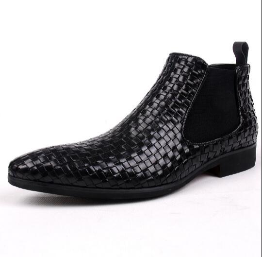 Schwarzes Leder Hohe Männer Business Herren Spitz Schuhe Woven Kleid England Italienische Chelsea Stiefel AxBq7nt