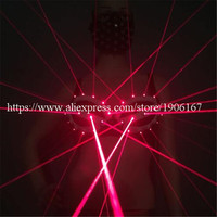 5 Sets 2016 Newest Red Laser Women Bra Laserwomam Show Suits Stage Costumes For Singer Dancer Nightclub Party