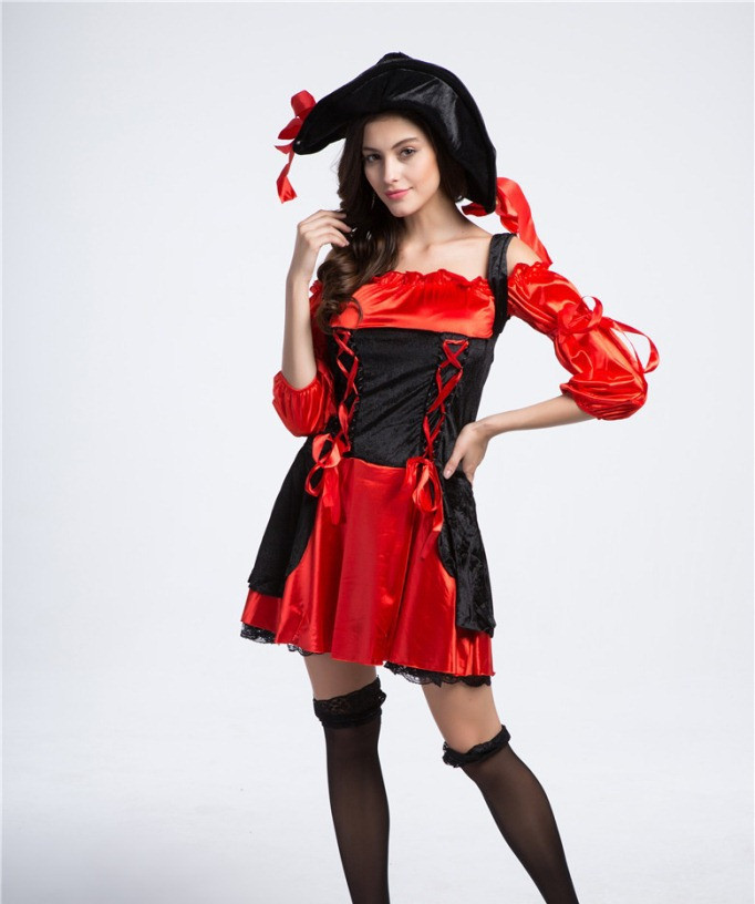 Free Shipping Good Quality Plus Size Sexy Pirate Costumes,Women Halloween Costume With Hat-In Sexy Costumes From Novelty  Special Use On -4023