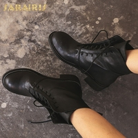 SARAIRIS New Sheepskin Wholesale Ankle Boots Woman Shoes Lace Up Hot Sale Chunky Heels Shoes Woman Boots Size 34 40