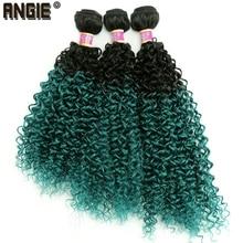 Extensiones de cabello ondulado y rizado sintético para mujer, mechones de pelo rizado de color negro a verde, 3 unids/lote